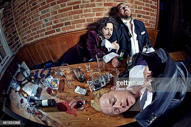 Film and tv director Edgar Wright with actors Nick Frost and Simon Pegg are photographed for GQ magazine on July 2 2013 in London England