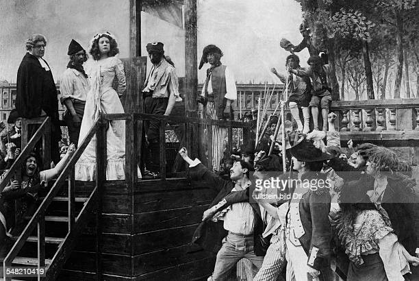 Film Behind the scenes shooting of a film about Charlotte Corday scene of the execution by the Guillotine 1911 Photographer Philipp Kester Published...