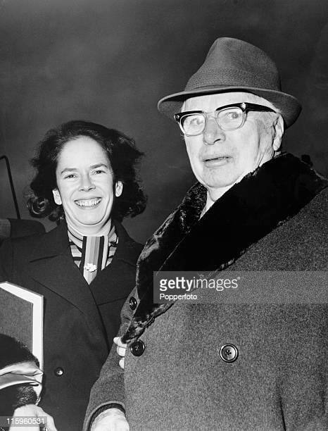 Film comedian Charlie Chaplin and his wife Oona arrive at Heathrow Airport London for the rerelease of his movie classic Modern Timeson 6th February...