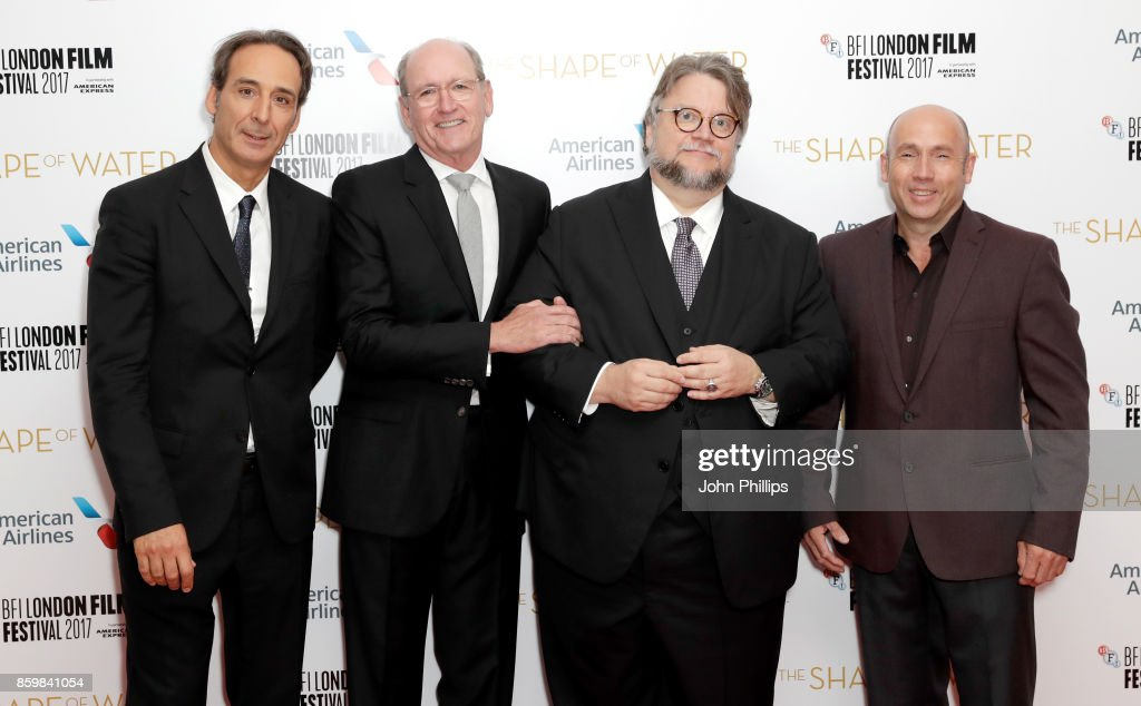 Film composer Alexandre Desplat, actor Richard Jenkins, director Guillermo del Toro and producer J Miles Dale attend the American Airlines Gala and UK Premiere of 'The Shape Of Water' during the 61st BFI London Film Festival on October 10, 2017 in London, England.