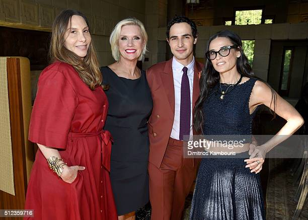 Film costume designer Jacqui Getty MAC Global President Karen Buglisi Weiler fashion designer Zac Posen and actress Demi Moore attend the MAC...
