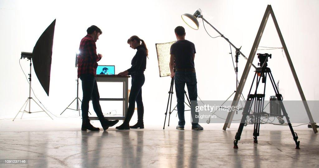 Film crew in the studio : Stock Photo