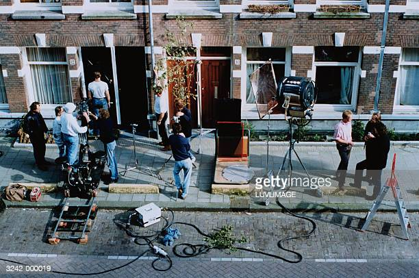 Film Crew Outside House