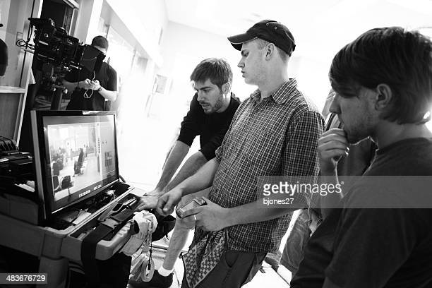film crew watch monitor - film studio stock pictures, royalty-free photos & images