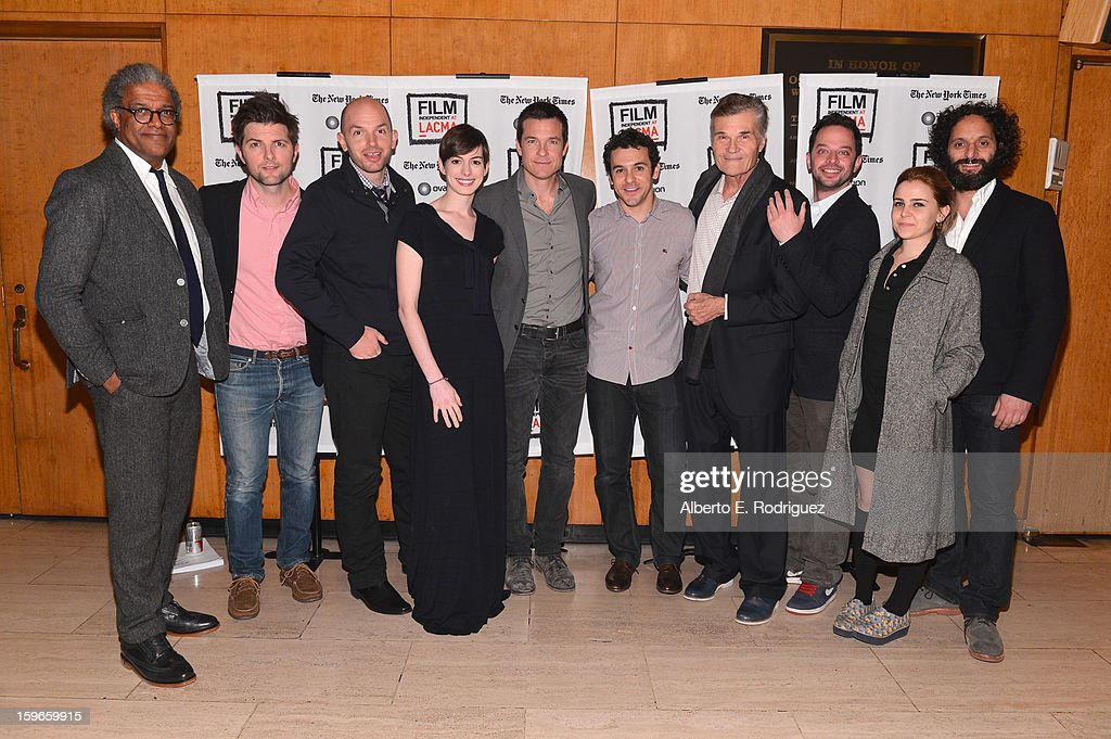 Film Critic Elvis Mitchell, actors Adam Scott, Paul Scheer, Anne Hathaway, Jason Bateman, director Fred Savage, actors Fred Willard, Nick Kroll, Mae Whitman and Jason Mantzoukas attend a Film Independent live read at Bing Theatre At LACMA on January 17, 2013 in Los Angeles, California.