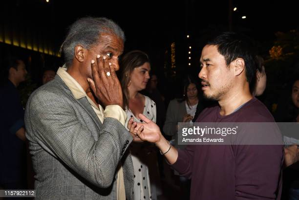 Film critic Elvis Mitchell and actor Randall Park attend Film Independent's Live Read of When Harry Met Sally at the Wallis Annenberg Center for the...