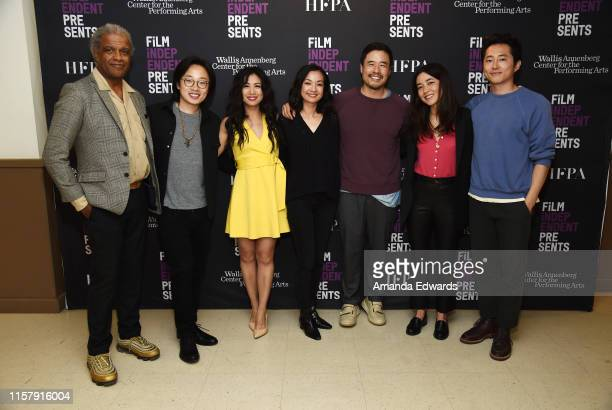 Film critic Elvis Mitchell and actors Jimmy O Yang Liza Lapira Jae Suh Park Randall Park Maya Erskine and Steven Yeun attend Film Independent's Live...
