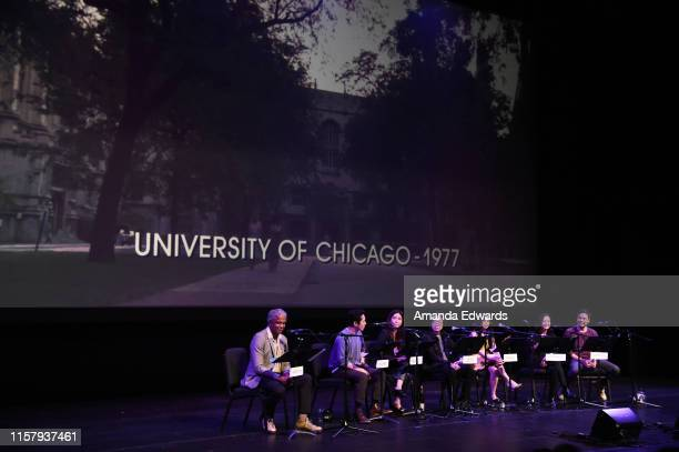 Film critic Elvis Mitchell and actors Steven Yeun Maya Erskine Jimmy O Yang Liza Lapira Jae Suh Park and Randall Park attend Film Independent's Live...