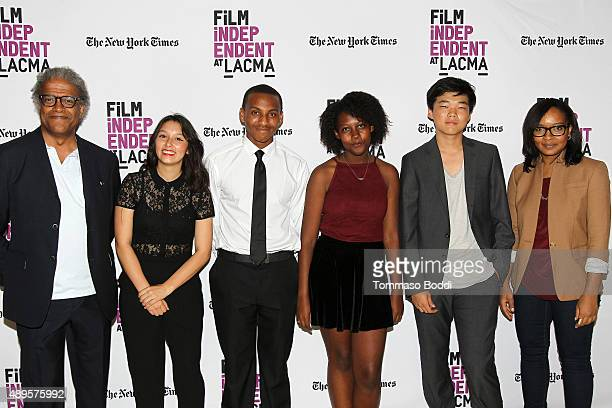 Film critic Elvis Mitchell Filmmaker Leslie Torres Isaiah Ray Pearce Gillian Lyons and Eugene Ko and Alvie Johnson attend the Film Independent at...