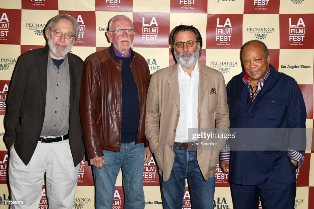 Film critic Kenneth Turan, screenwriter Frank Pierson, actor Andy Garcia, and musician Quincy Jones attend A Conversation: Remembering Sidney Lumet during the 2011 Los Angeles Film Festival held at Regal Cinemas L.A. LIVE on June 21, 2011 in Los Angeles, California.