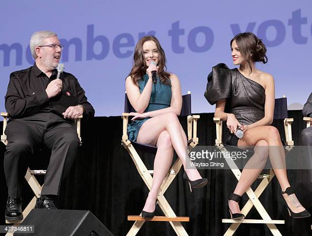 Film critic Leonard Maltin and actresses Madison Davenport and Eiza Gonzalez speak onstage at From Dusk Till Dawn The Series Pilot Photo Op and QA...