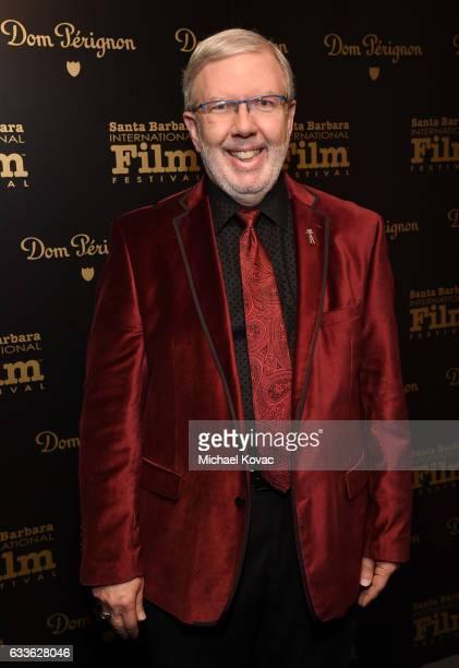 Film critic Leonard Maltin visits the Dom Perignon Lounge at The Santa Barbara International Film Festival on February 2 2017 in Santa Barbara...