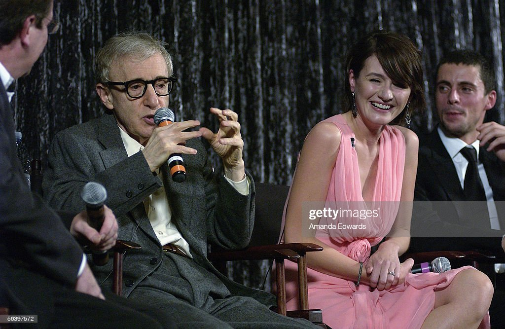 Film critic Pete Hammond, director Woody Allen and actors Emily Mortimer and Matthew Goode participate in a Q&A session at the Variety Screening Series of 'Match Point' at the Arclight Theaters on December 8, 2005 in Hollywood, California.