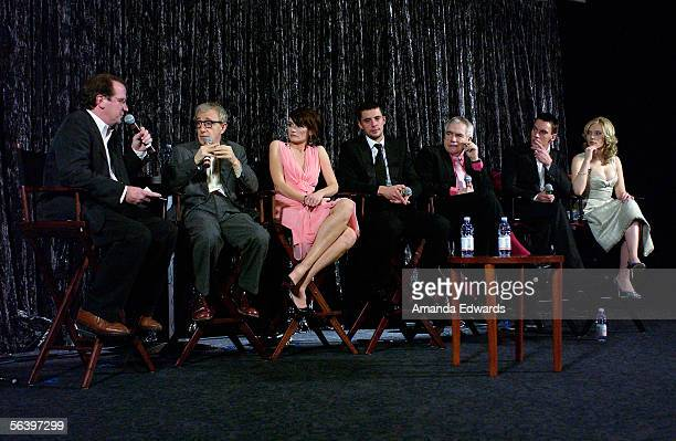 Film critic Pete Hammond director Woody Allen and actors Emily Mortimer Matthew Goode Brian Cox Jonathan RhysMeyers and Scarlett Johansson...