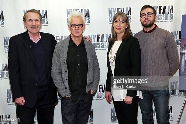 Film critic Peter Travers actor John Slattery actress Amy Morton and writer/director Lance Edmands attend the New York Film Critics Series preview...