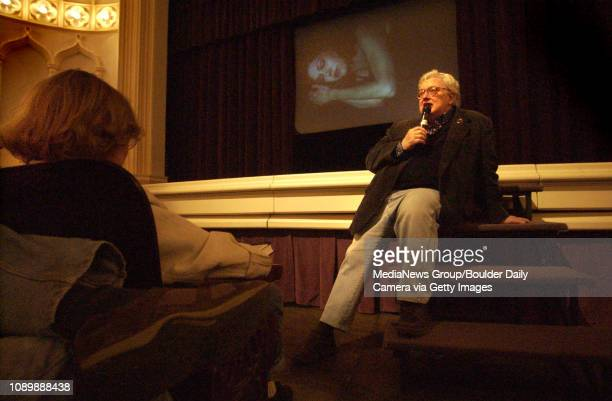 Film critic Roger Ebert chats with the audience which nearly filled Macky Auditorium before continuing to dissect the movie Mulholland Drive during...
