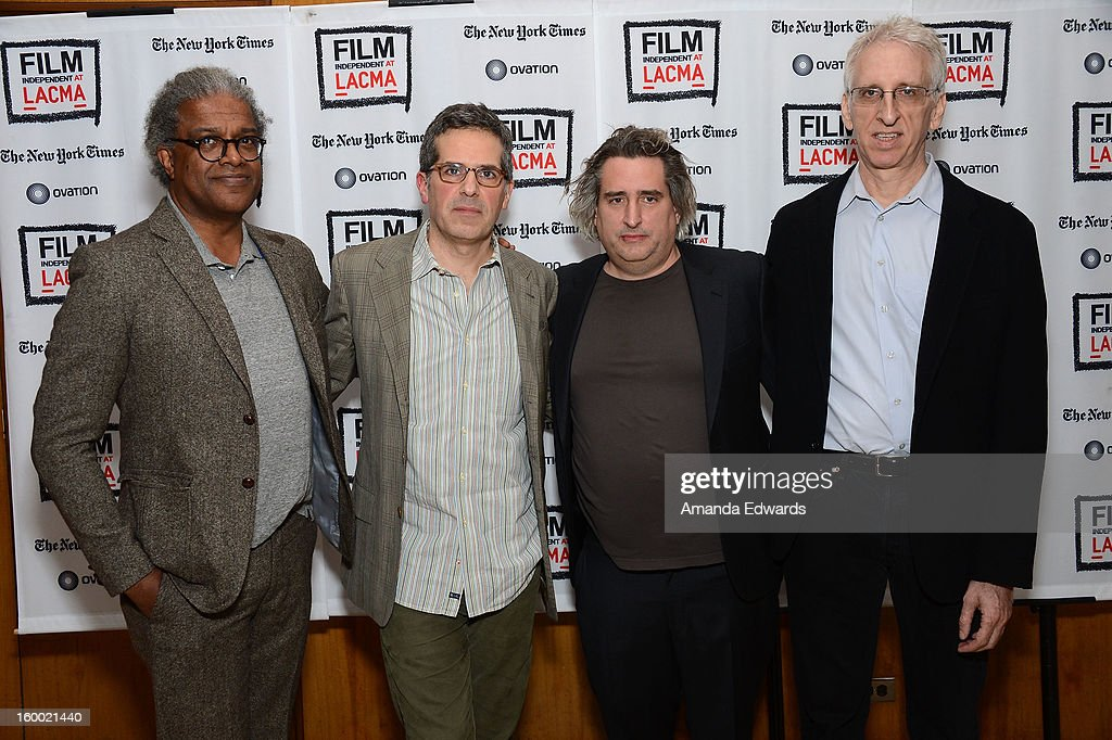 Film curator Elvis Mitchell, writer Jonathan Lethem, photographer Gregory Crewdson and director Ben Shapiro attend the Film Independent screening of Gregory Crewdson: Brief Encounters at the Bing Theatre At LACMA on January 24, 2013 in Los Angeles, California.