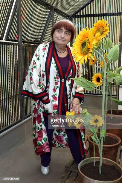 Film director Agnes Varda is seen at the opening of her exhibition'Une cabane de cinemala serre du bonheur' at Galerie Nathalie Obadia on April 14...