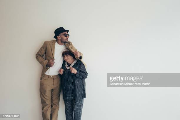 Film director Agnes Varda with artist JR are photographed for Paris Match on November 11 2017 in Los Angeles California