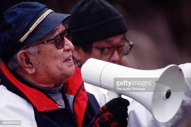 Film director Akira Kurosawa gives instruction during the 'Madadayo' filming on February 23 1992 in Gotemba Shizuoka Japan