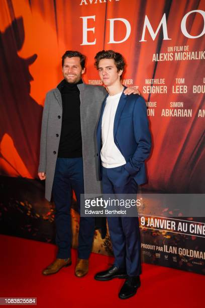 Film director Alexis Michalik and actor Thomas Soliveres during the 'Edmond' Paris Premiere photocall at Cinema Pathe Beaugrenelle on December 17...