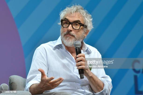 Film Director Alfonso Cuaron speaks on stage during the Participant Media session at the Cannes Lions 2019 : Day Two on June 18, 2019 in Cannes,...
