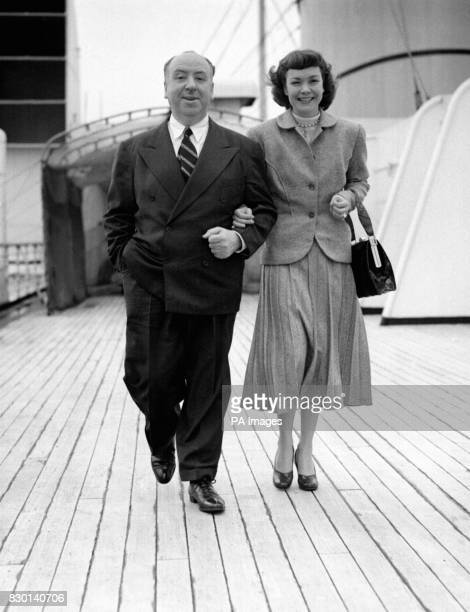 Film director Alfred Hitchcock and film star Jane Wyman aboard the Cunard liner 'Queen Mary' as it left Southampton for New York They had just...