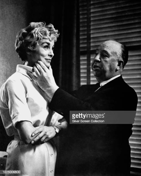 Film director Alfred Hitchcock directs actress Janet Leigh in a scene for the horror film 'Psycho' 1960