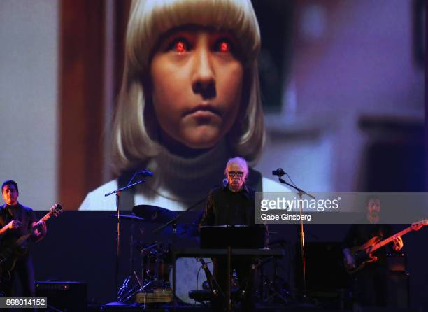 Film director and composer John Carpenter performs with scenes from the movie 'Village of the Damned' playing as he kicks off his tour at The Joint...