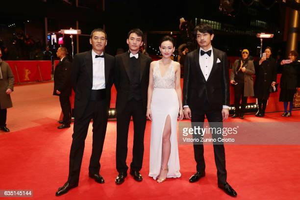 Film director and screenwriter Sabu actors Sho Aoyagi actress Yeo Yi Ti and actor Chang Chen attend the 'Mr Long' premiere during the 67th Berlinale...