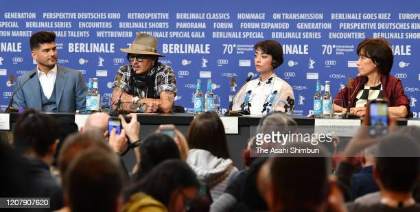 Film director Andrew Levitas Johnny Depp Minami and Aileen Mioko Smith attend the Minamata press conference at the 70th Berlinale International Film...