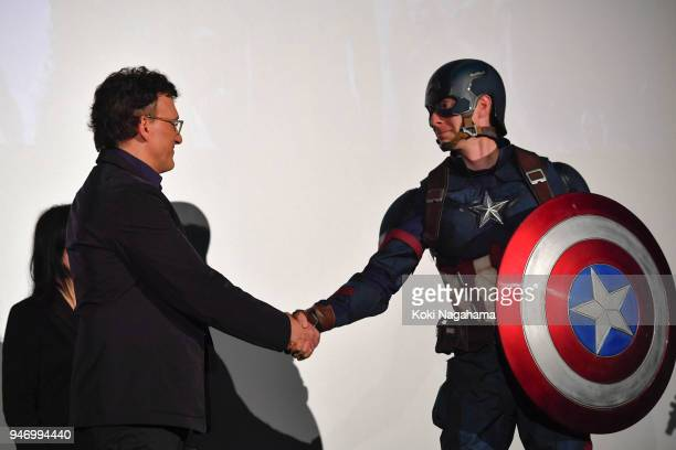 Film Director Anthony Lusso and Captain America attend the fan event for 'Avengers Infinity War' Tokyo premiere at the TOHO Cinemas Hibiya on April...