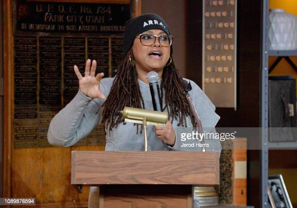 Film director Ava DuVernay speaks during the Can Art Save Democracy Panel during the 2019 Sundance Film Festival at Filmmaker Lodge on January 26...