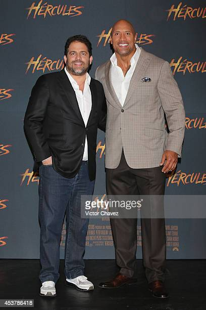 Film Director Brett Ratner and Actor Dwayne Johnson attend the photocall for Hercules at St Regis Hotel on August 18 2014 in Mexico City Mexico