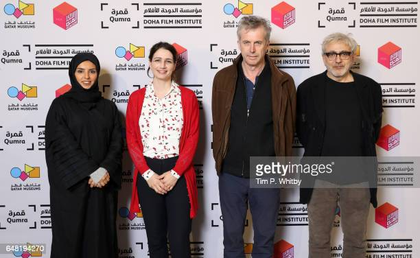 Film director Bruno Dumont with Doha Film Institute CEO Fatma Al Remaihi DFI Director Film Fund and Programs Hanaa Issa and Doha Film Institute...