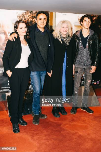 Film director Chad Chenouga Yolande Moreau and Khaled Alouach during the 'De Toutes Mes Forces' Paris Premiere photocall at UGC Cine Cite des Halles...