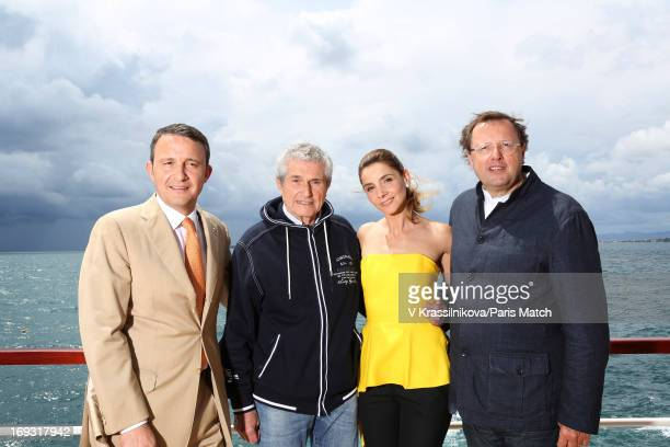 Film director Claude Lelouch director of the Hotel Cap Eden Roc Philippe Perd and actor Clotilde Couraufor are photographed for Paris Match on May 17...