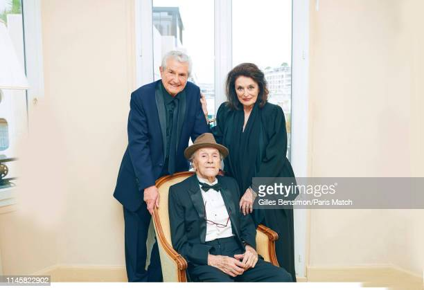 Film director Claude Lelouch with actors Anouk Aimee and JeanLouis Trintignant are photographed for Paris Match on May 18 2019 in Cannes France