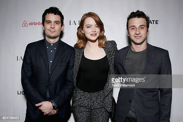 Film director Damien Chazelle actress Emma Stone and composer Justin Hurwitz attend 'La La Land' Screening during Airbnb Open LA Day 3 on November 19...