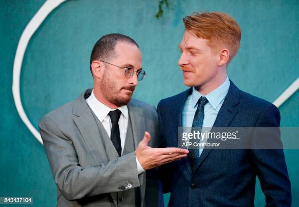 US film director Darren Aronofsky and Irish actor Domhnall Gleeson pose for a photograph upon arrival for the UK premiere of the film 'Mother ' in...