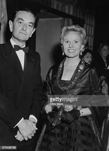 Film director David Lean and his wife actress Ann Todd pictured at a blacktie event circa 1953