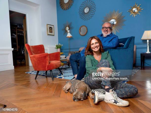 Film director Dominique Farrugia and his wife Isabelle are photographed for Paris Match at home on November 18 2018 in Paris France