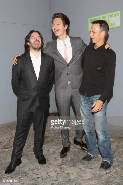Film director Edgar Wright actor Ansel Elgort and stuntman Jeremy Fry attend the 'Baby Driver' Mexico City premier at Cinemex Antara Polanco on July...