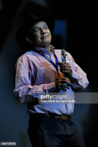 Film director Enrique Garcia Meza looks on after winning the Maguey Internacional for his film Ayotzinapa during the 33 Guadalajara International...