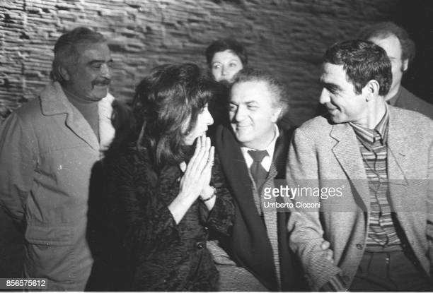 Film director Federico Fellini directing actress Anna Magnani and other actors during the movie 'Roma' Rome 1971