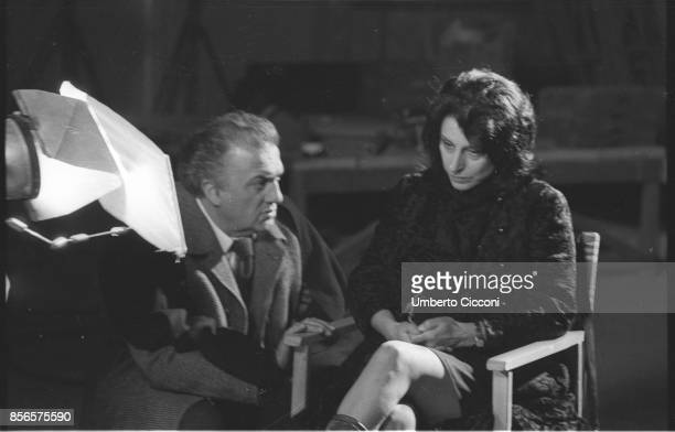 Film director Federico Fellini directing actress Anna Magnani during the movie 'Roma' Rome 1971