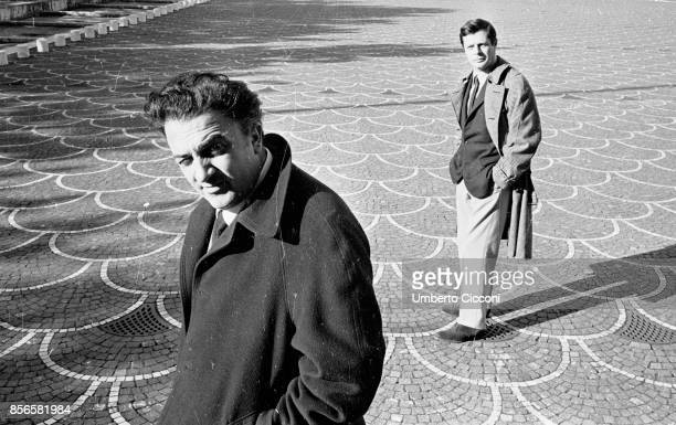 Film director Federico Fellini with actor Marcello Mastroianni in EUR Rome 1962