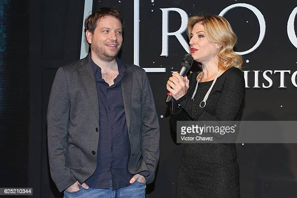 Film director Gareth Edwards is interviewed by Susana Moscatel during the Rogue One A Star Wars Story Mexico City fan event black carpet at Cinemex...