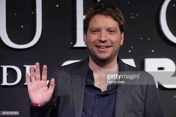 Film director Gareth Edwards poses for photos during Rogue One A Star Wars Story Mexico City Fan Event Black Carpet at Cinemex Antara on November 22...