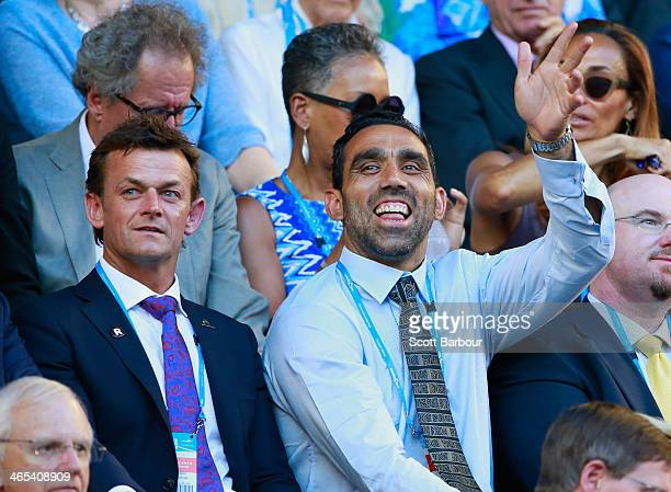 Film director Geoffrey Rush former Australian cricketer Adam Gilchrist and Australian of the Year and AFL footballer Adam Goodes look on ahead of the...